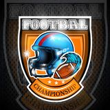 American football ball with wind blue trail beside helmet in center of shield. Sport logo for any team. Or competition royalty free illustration
