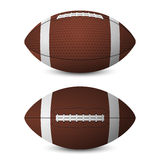 American football balls set - front view, side view. Royalty Free Stock Photography