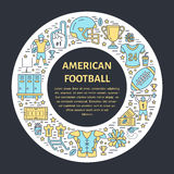 American football banner with line icon of ball, field, player, whistle, helmet and other sport equipment. Vector circle Royalty Free Stock Photography