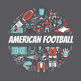 American football banner with line icons of ball, field, player, Royalty Free Stock Photo