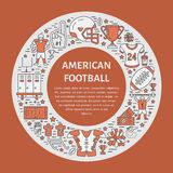American football banner with line icons of ball, field, player, whistle, helmet  Royalty Free Stock Images