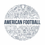 American football banner with line icons of ball, field, player, whistle, helmet and other sport equipment. Vector Royalty Free Stock Photo