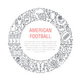 American football banner with line icons of ball, field, player, whistle, helmet and other sport equipment. Vector Royalty Free Stock Image