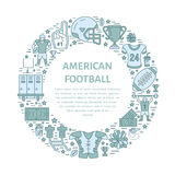 American football banner with line icons of ball, field, player, whistle, helmet and other sport equipment. Vector Stock Photos
