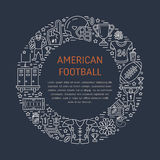 American football banner with line icons of ball, field, player, whistle, helmet and other sport equipment. Vector Stock Photography