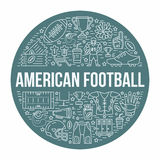 American football banner with line icons of ball, field, player, whistle, helmet and other sport equipment. Vector Royalty Free Stock Photos