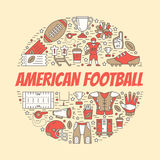 American football banner with line icons of ball, field, player, whistle, helmet and other sport equipment. Vector Royalty Free Stock Photography