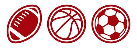 American football basketball soccer balls vector icons. Isolated on white stock illustration