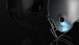 American football black and silver helmets on black dark background, 3d rendering. American football helmets, 3d render Stock Photos