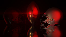 American football black and silver helmets on black dark background, 3d rendering. American football helmets, 3d render Royalty Free Stock Photo