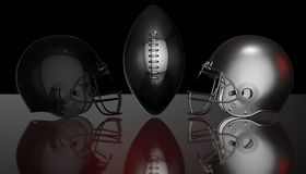 American football black and silver helmets on black dark background, 3d rendering. American football helmets, 3d render Royalty Free Stock Photos