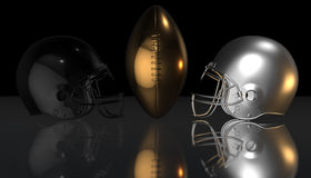 American football black and silver helmets on black dark background, 3d rendering. American football helmets, 3d render Stock Image