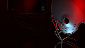 American football black and silver helmets on black dark background, 3d rendering. American football helmets, 3d render Stock Photo