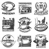 American Football Black White Emblems. With player trophy foam hand sports clothing and equipment  vector illustration Royalty Free Stock Images