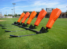 American football blocking sled. American football practice blocking sled  with stadium in background Royalty Free Stock Images
