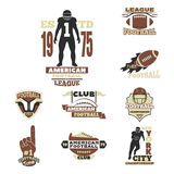 American football championship badge template for sport team with ball logo competition vector. American football championship logo template for sport team with Stock Photo