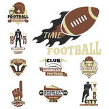 American football championship badge template for sport team with ball logo competition vector. Stock Images
