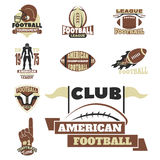 American football championship badge template for sport team with ball logo competition vector. American football championship logo template for sport team with Royalty Free Stock Image