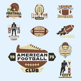 American football championship badge template for sport team with ball logo competition vector. American football championship logo template for sport team with Stock Images