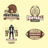 American football championship badge template for sport team with ball logo competition vector. American football championship logo template for sport team with Stock Image