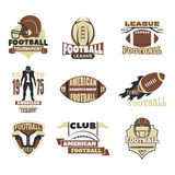 American football championship badge template for sport team with ball logo competition vector. American football championship logo template for sport team with Stock Photography