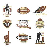 American football championship badge template for sport team with ball logo competition vector. American football championship logo template for sport team with Royalty Free Stock Images