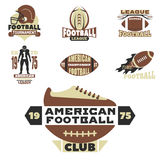 American football championship badge template for sport team with ball logo competition vector. Stock Image
