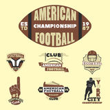 American football championship badge template for sport team with ball logo competition vector. Royalty Free Stock Images