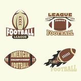 American football championship badge template for sport team with ball logo competition vector. American football championship logo template for sport team with Stock Photos