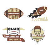 American football championship badge template for sport team with ball logo competition vector. American football championship logo template for sport team with Royalty Free Stock Photos