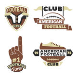 American football championship badge template for sport team with ball logo competition vector. American football championship logo template for sport team with Royalty Free Stock Photo