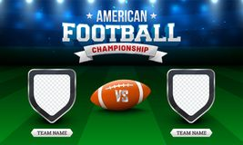 American Football Championship Concept with Soccer Ball, and Blank Shields for Teams Name on night background.