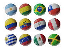 American Football Championship 2015. Football/soccer balls. Set of 3d soccer balls with flags Stock Photography