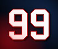 99 American Football Classic Sport Jersey Number in the colors of the American flag design Patriot, Patriots 3D illustration stock illustration