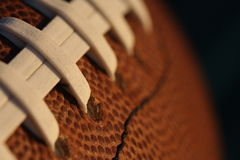 American Football close up. Macro shot of an american football and laces Stock Image