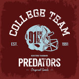 American football collage. Vintage American football collage team old grunge effect tee print vector design. nPremium quality superior helmet retro logo concept Royalty Free Stock Photo