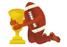 American football  with cup Stock Photos