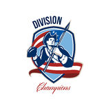 American Football Division Champions Shield Retro Royalty Free Stock Image
