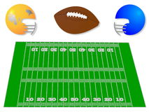 American football elements. Vector Illustration of some American football elements including a field, ball and helmets Royalty Free Illustration