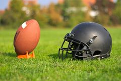 American football equipment used royalty free stock photography