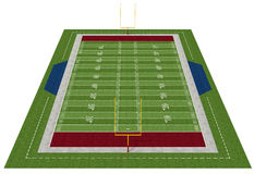 American football field. Perspective view of an american  football field - rendering Stock Images