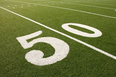American Football Field 50 Yard Line Royalty Free Stock Photography