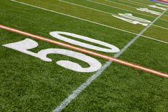 American Football Field - 50 yard line Royalty Free Stock Photography