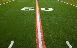 American Football Field - 50 yard line Stock Photos