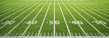 American Football Field And Grass Stock Photo