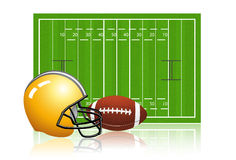 American football field with ball and helmet Stock Photography