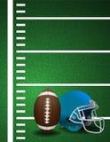 American Football Field Ball Helmet Background Stock Photo