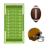 American Football Field, Ball, and Helmet Elements Royalty Free Stock Images