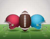 American Football Field, Ball, and Helmets Stock Images