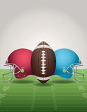 American Football Field, Ball, and Helmets. An illustration of an American Football field, football, and helmets. Vector EPS 10 file available. EPS file contains Stock Photography